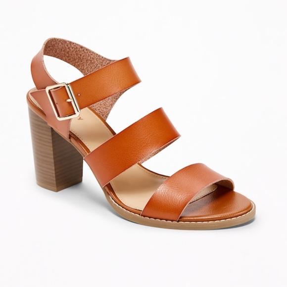 760bfb273e229 OLD NAVY Three-Strap Block-Heel Sandals Cognac 9. M 5b4b8db612cd4adc75824463